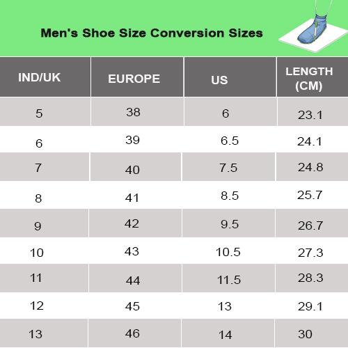 Bata Men Size Chart